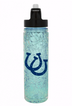 Water bottle with horseshoe decal.