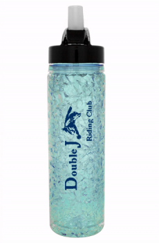 Double J Riding Club branded water bottle.