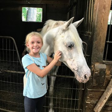 Young Girl Next to Grey Horse